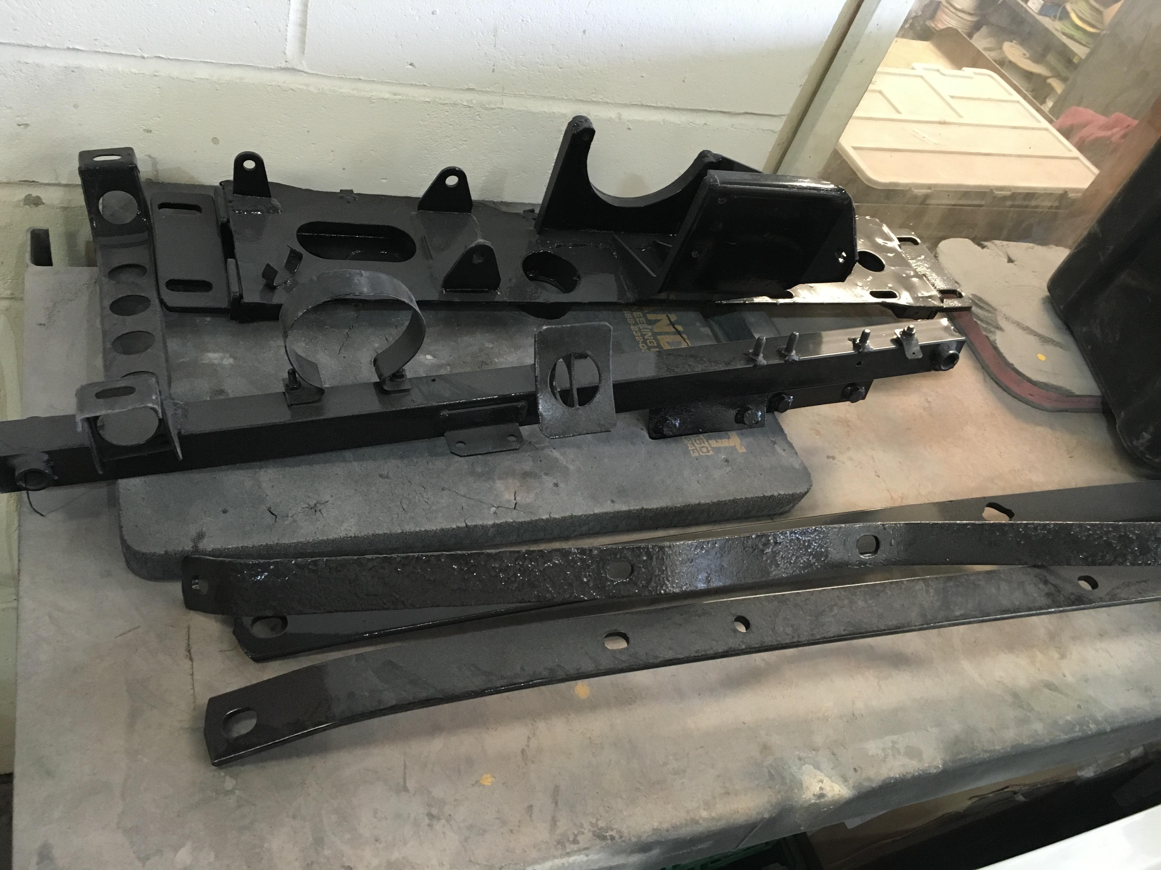 Maserati Merak parts at the paintshop