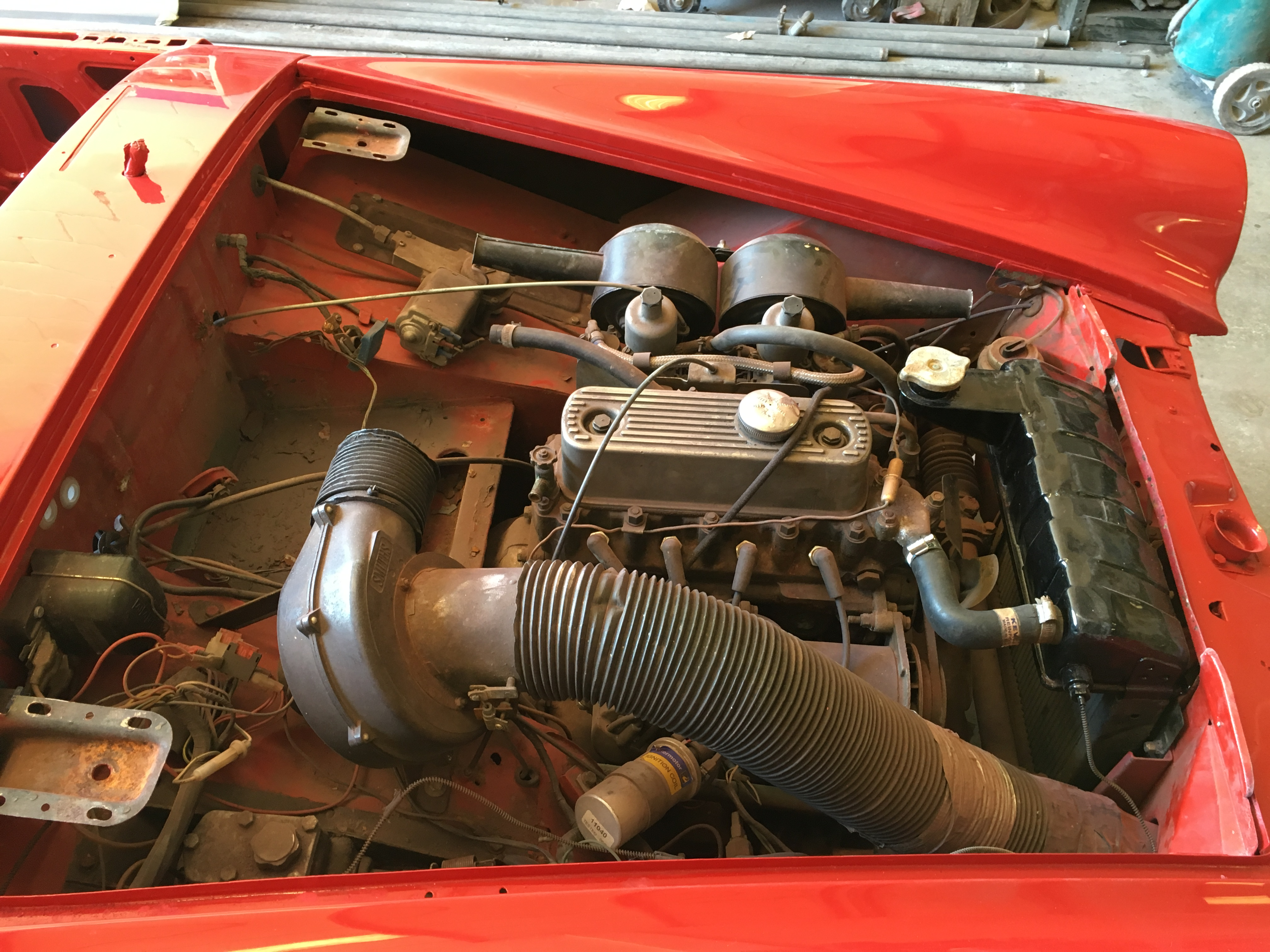 1966 MG Midget undergoing a full re-spray