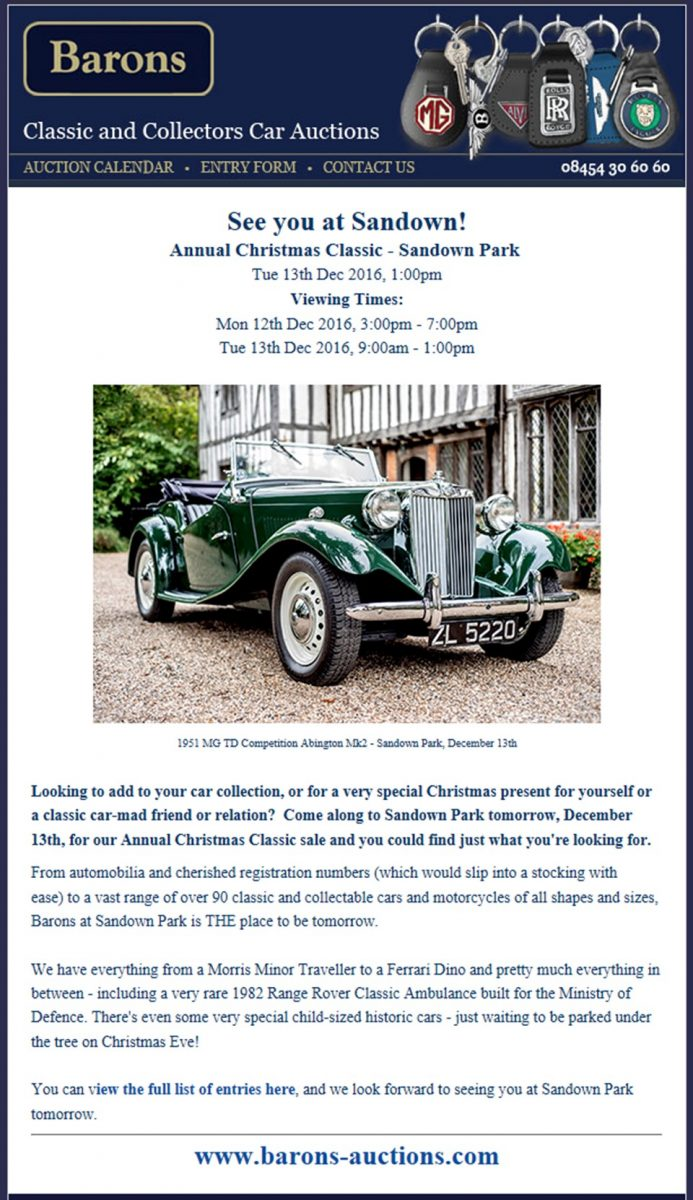 Barons Auctioneers Mailshot December 2016