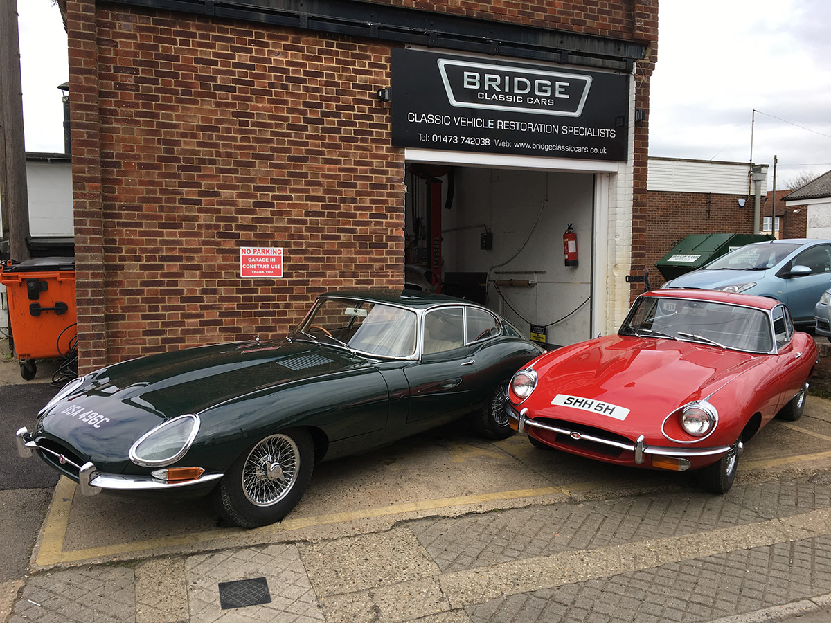 Jaguar E-Types outside Bridge Classic Cars - Bridge Classic Cars