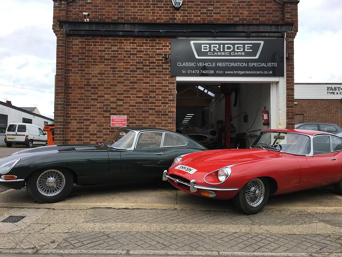 Jaguar E-Types outside Bridge Classic Cars - Bridge Classic Cars