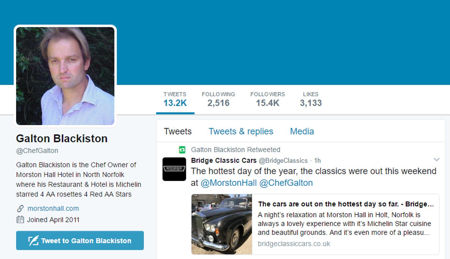 Galton Blackiston Twitter – April 2017