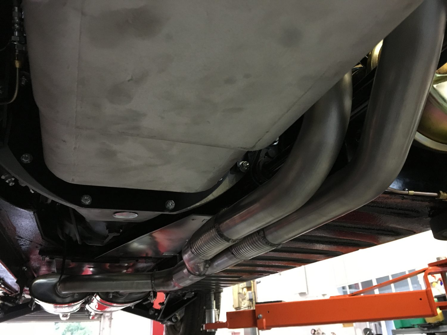 Jaguar E Type For Sale >> Fitting up the new stainless exhaust - Bridge Classic Cars : Bridge Classic Cars