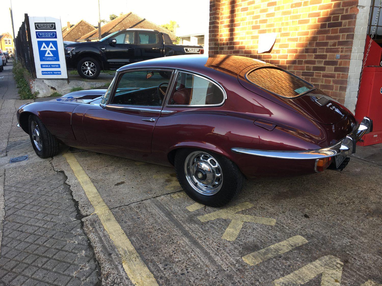 Jaguar E-Type Series 3 1973 outside Bridge Classic Cars