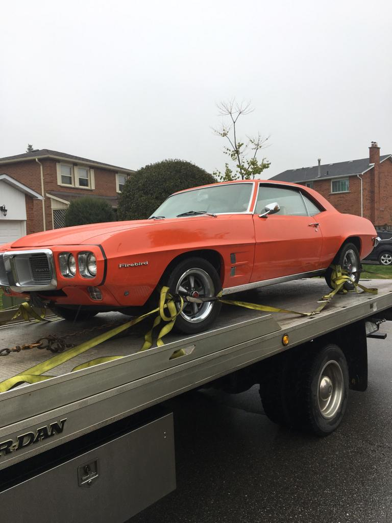 Our 1969 Pontiac Firebird is now leaving Canada