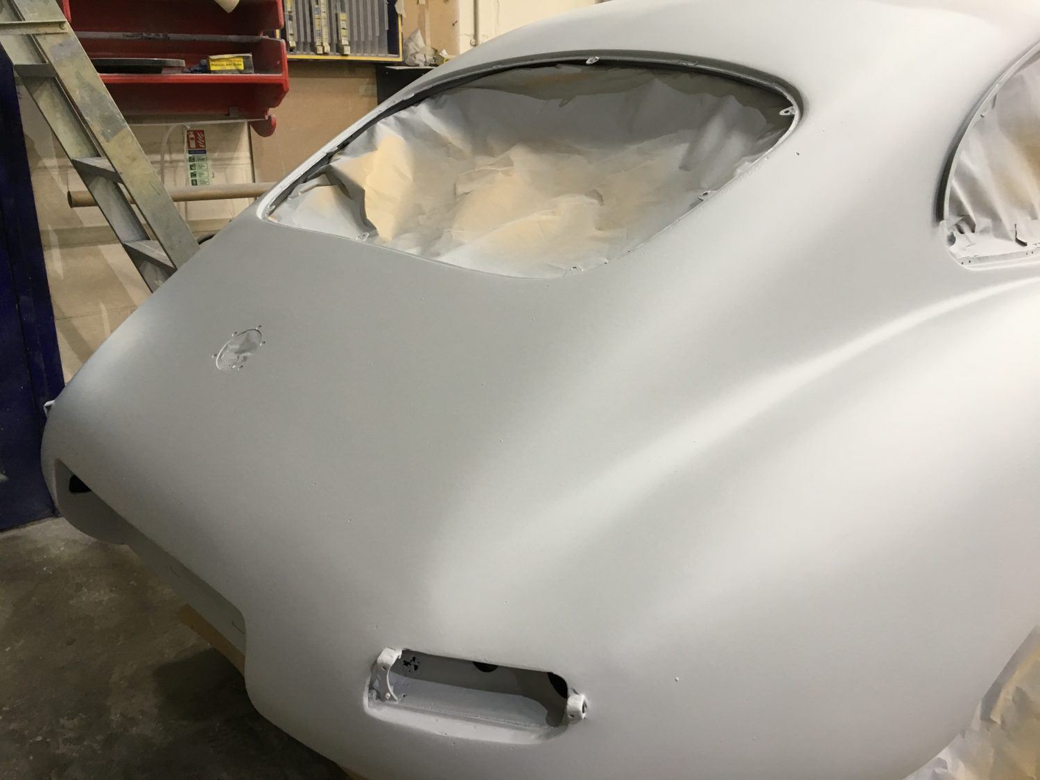 Our E-Type Racing car is now in primer…