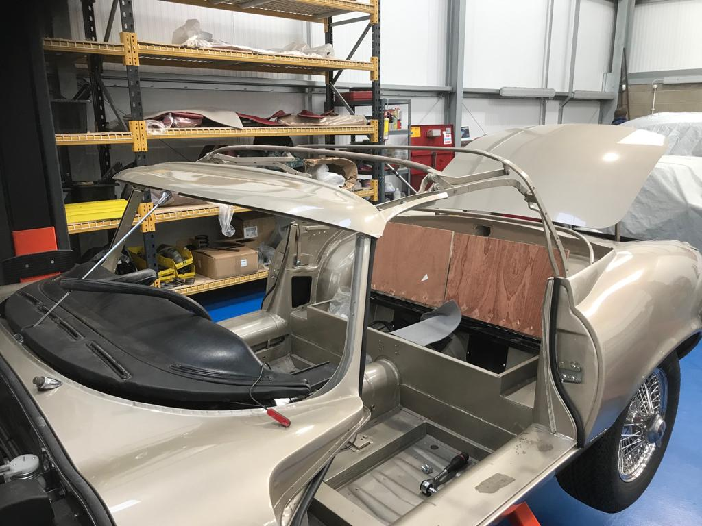 Fitting up the hood frame of our 1971 Jaguar E-Type