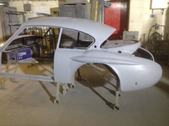 Work is well underway with the fibreglass body preparation