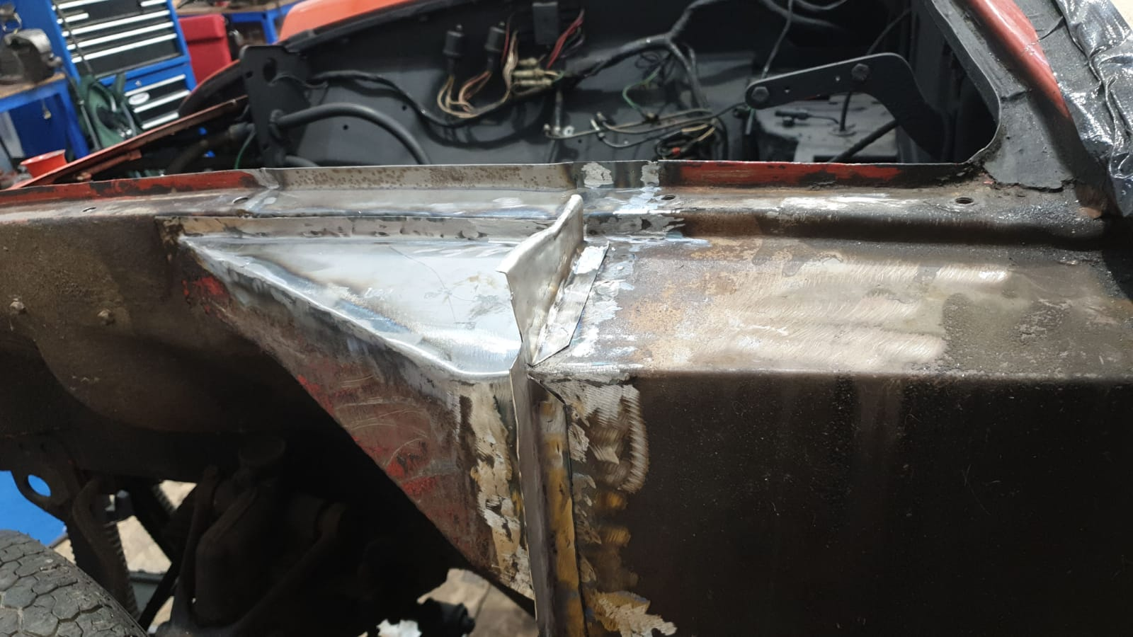 More repairs to the body of our 1977 MG BGT