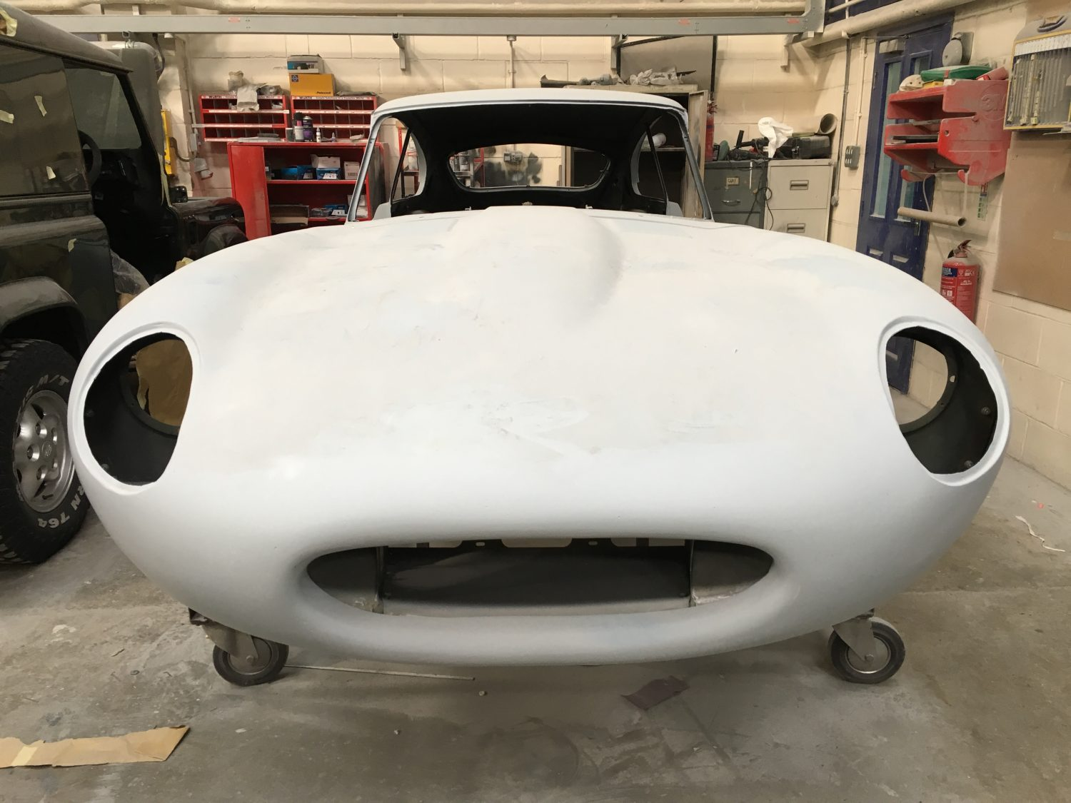 Our Jaguar E-Type primed and ready for paint