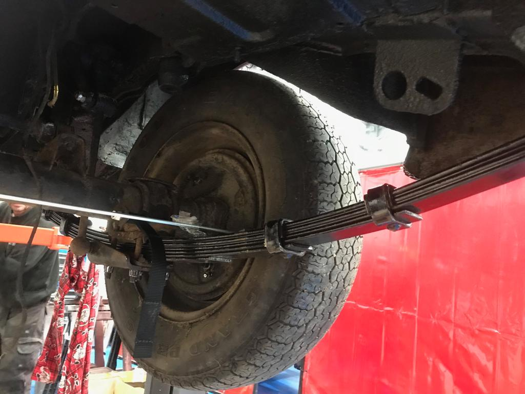 Fitting new leaf springs to our MGBGT