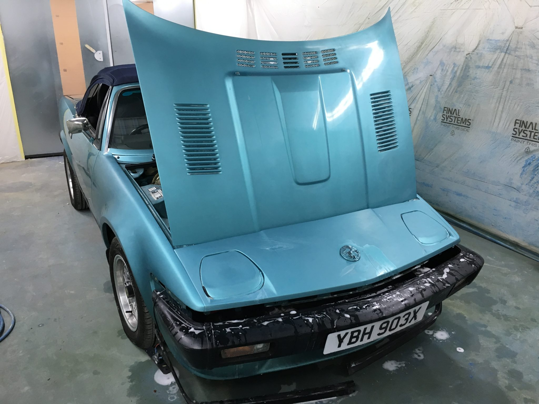 Painting the front end of our TR7 V8