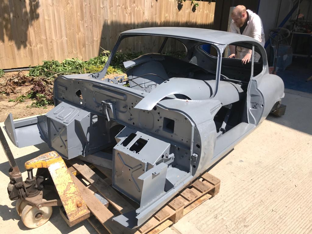 Our E-Type shell is now in primer